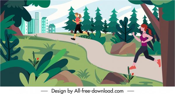healthy lifestyle background jogging women sketch cartoon design
