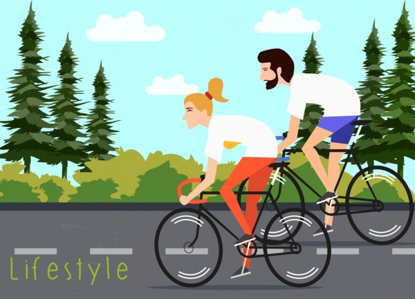healthy lifestyle banner couple riding bicycle colored cartoon