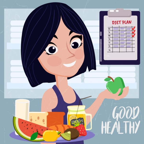 healthy lifestyle banner woman fruits icons colored cartoon