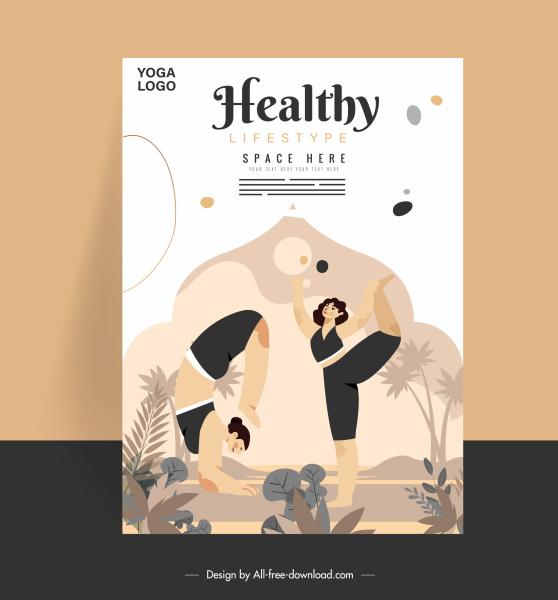 healthy lifestyle banner women exercising yoga sketch