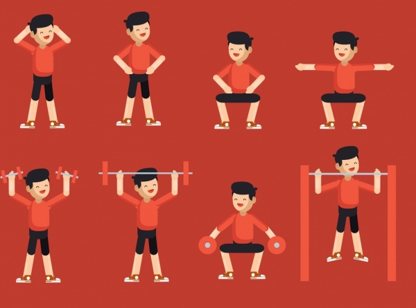 healthy lifestyle design elements exercising man cartoon characters