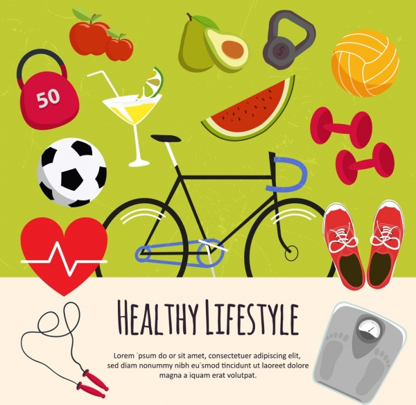 healthy lifestyle design elements various colored symbols
