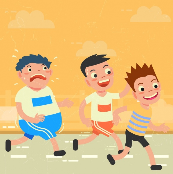 Healthy Lifestyle Drawing Kids Doing Exercise Colored Cartoon Free