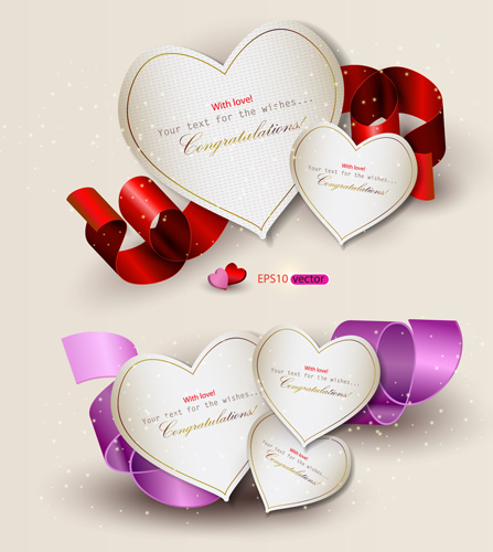 heart and ribbons valentine cards vector set