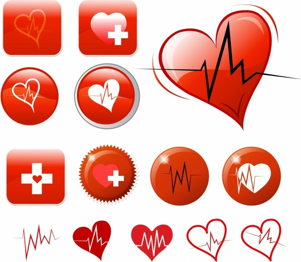 Heart attack icons