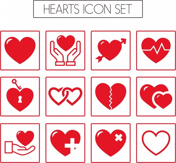 heart icons collection various red flat types isolation