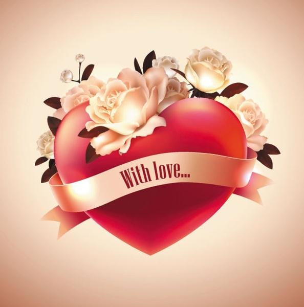 heart love label 07 vector