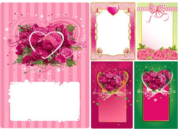 heart shaped rose border frame vector