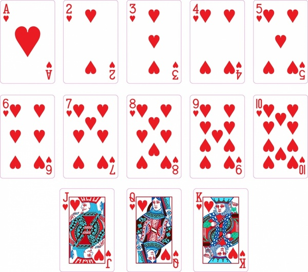 Heart Suit Two Playing Cards