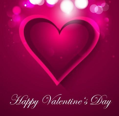valentines card design violet heart decoration bokeh backdrop