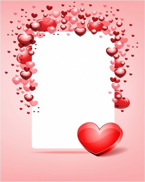Heart with card frame Valentine day Free vector in Adobe Illustrator ...