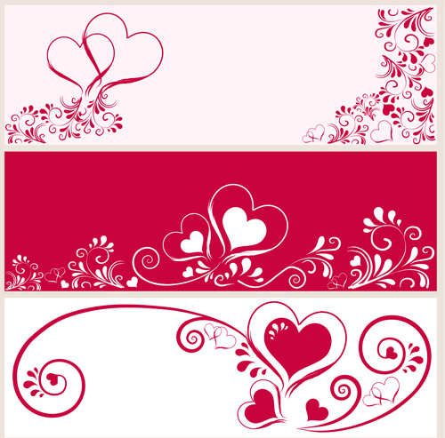 heart with floral banner vector graphics