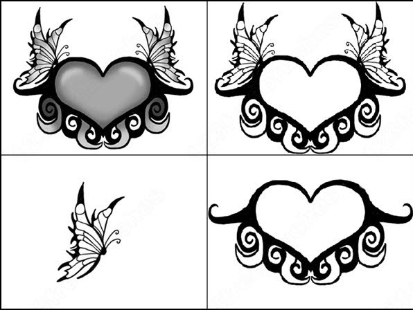 hearts and butterfly brush