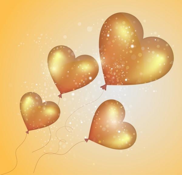 hearts balloons background sparkling shiny golden decoration