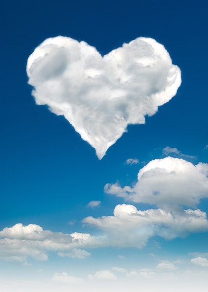 heartshaped clouds stock photo