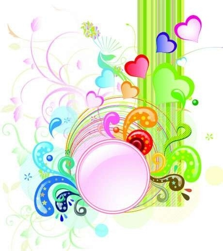 colorful abstract background various hearts swirled decoration
