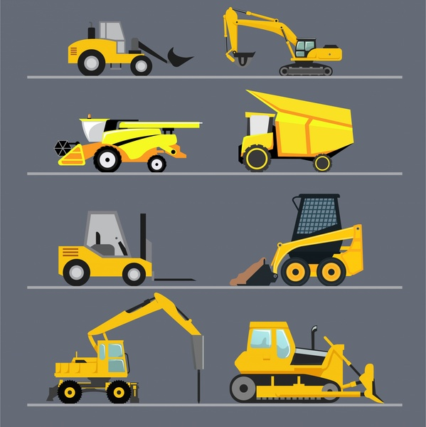 heavy construction machines icons isolated with yellow color