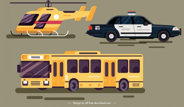 helicopter car bus vehicles icons colored modern sketch