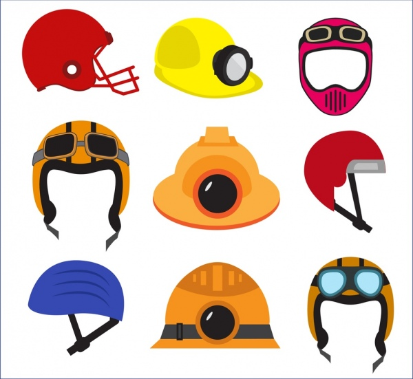 helmet icons collection various colored types isolation