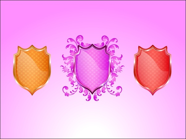 colorful heraldic shields decoration vector illustration