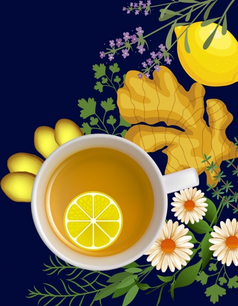 herbal tea advertisement colored flower fruits decoration