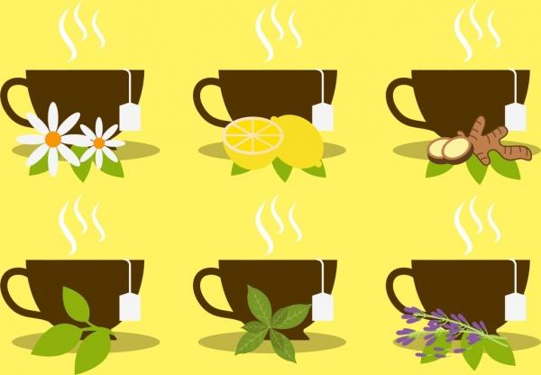 herbal tea advertising cups fruits flowers leaf icons