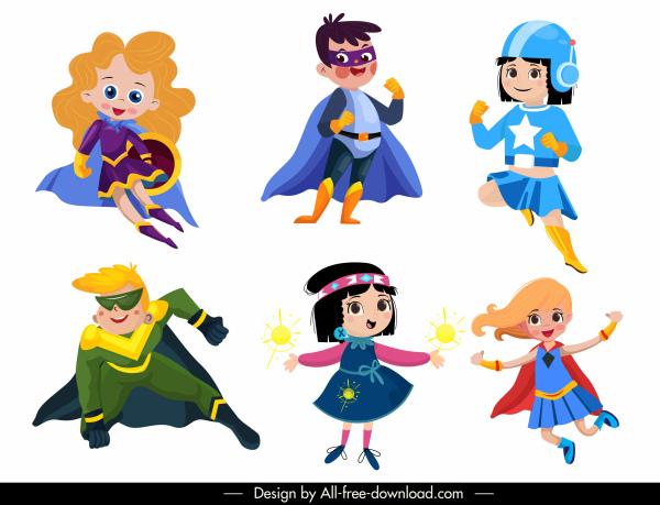 hero kids icons cute cartoon characters sketch