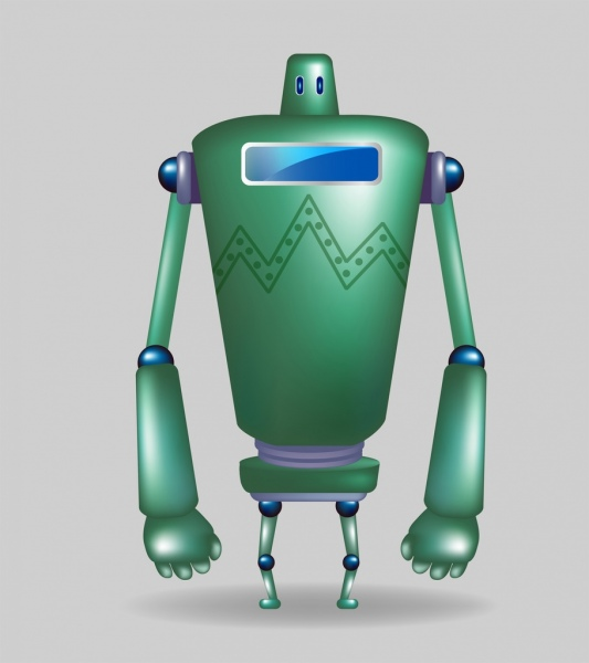 hero robot icon shiny green design