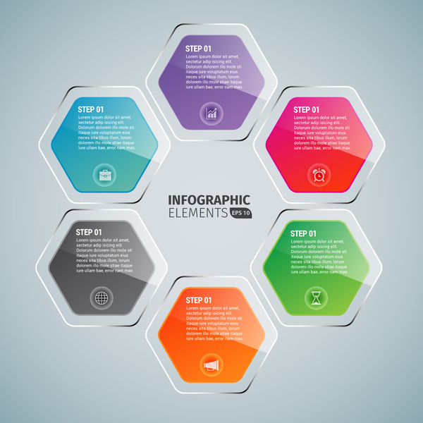 hexagon glossy infographics