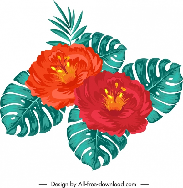 hibiscus painting red green classical sketch