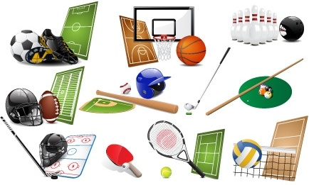 sports symbols icons collection various colored design