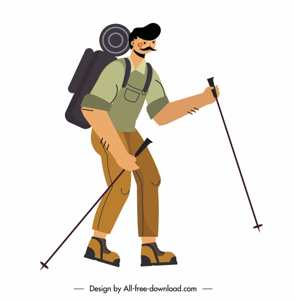 hiking man icon cartoon character sketch