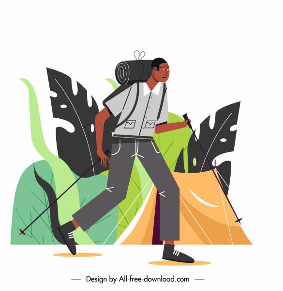 hiking man icon cartoon character sketch