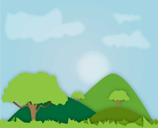 Landscape Illustration Vector Free: Hills Landscape Free Vector In Adobe Illustrator Ai ( .ai