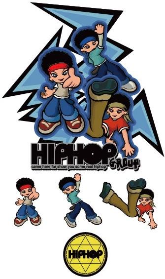 hiphop cartoon characters vector