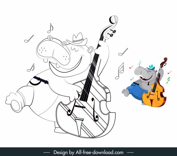 hippo icon funny stylized handdrawn cartoon sketch