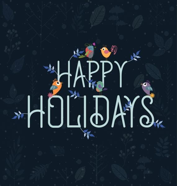 holiday backdrop birds texts ornament vignette design