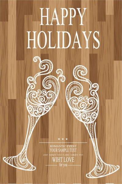 holiday banner wine glasses icons wooden backdrop