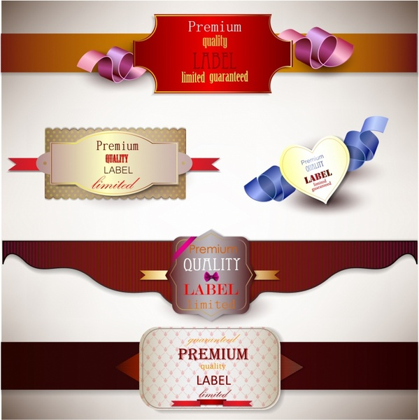 Holiday banners with ribbons