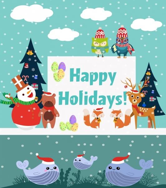 holidays banner winter backdrop cute stylized animals decoration
