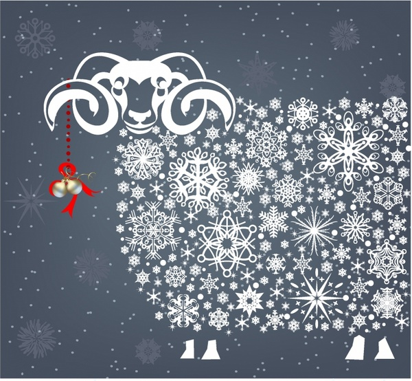 Holidays snowflakes sheep