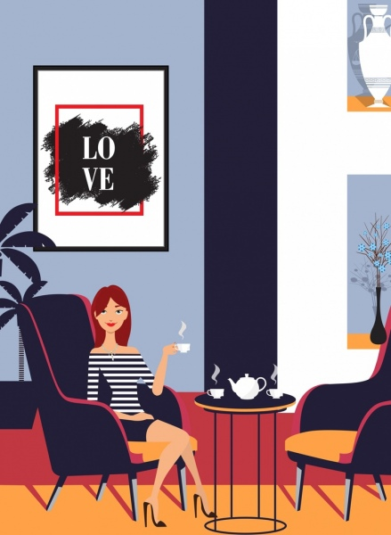 Home Decor Advertising Furniture Relaxed Girl Icons