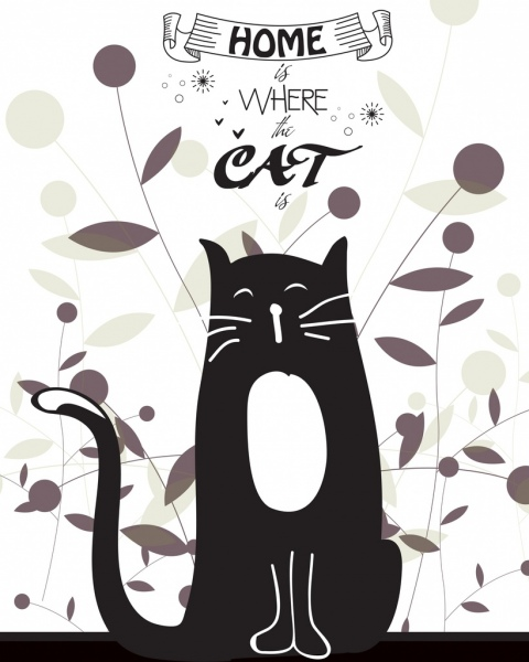 home decor background black cat leaves icons