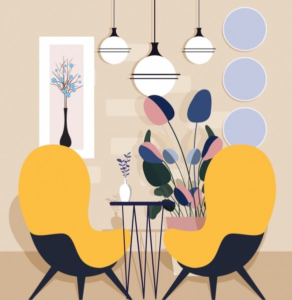 Home Decor Background Chair Light Table Flowerpot Icons Free Vector