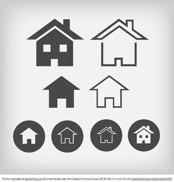 Home Design Ideas Free Download: Home Icon Designs Free Vector In Adobe Illustrator Ai