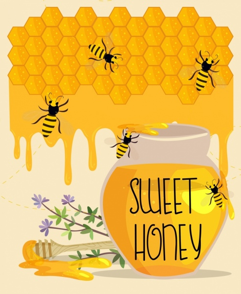 Honey Advertisement Striped Bees Jar Stick Beehive Decoration Free Vector 359MB