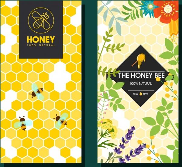 honey advertisement templates honeycomb background bee flowers decoration
