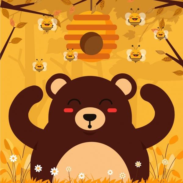honey bear background cute stylized cartoon characters free vector