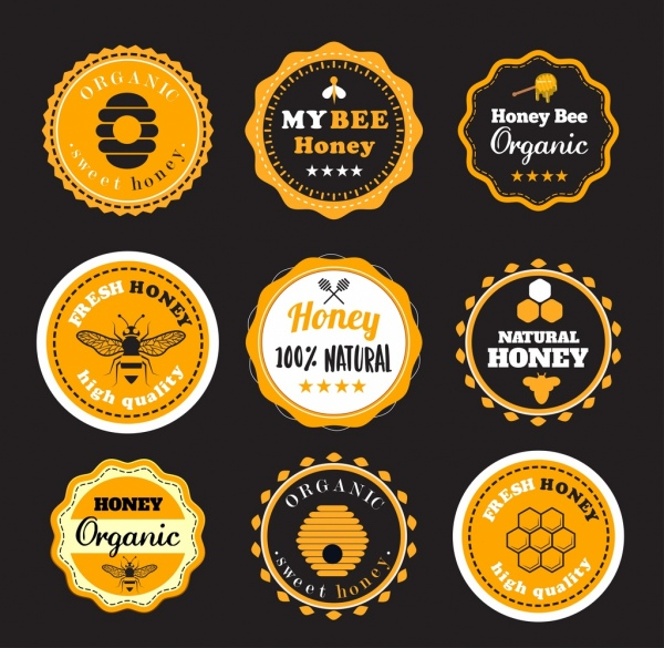 Honey Labels Templates Classical Circle Decor Free Vector In Adobe