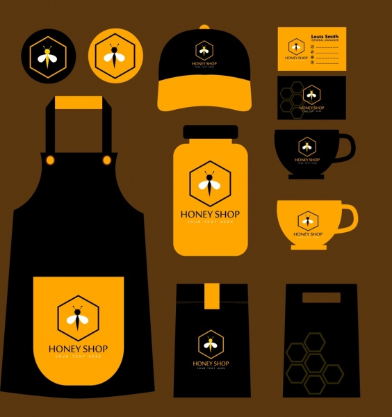 honey shop identity sets black yellow bee icon